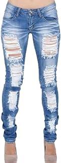 chenshiba-JP レディース低ライズリッピングジーンズジーンズスキニーフィットカジュアルスリムリッピングデニムパンツ
