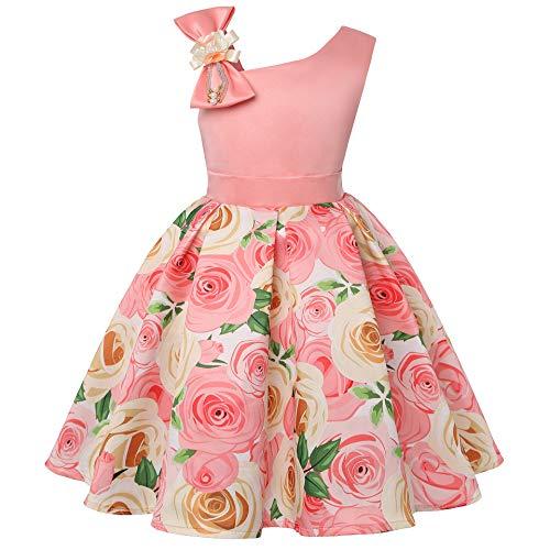 Houfung Vestido infantil de 3 a 9 anos com listras de flores para meninas, roupas infantis, vestido de princesa para festa de casamento, Pêssego, 3T