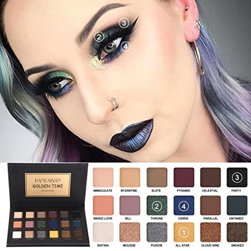 Coloré(TM) Palettes de maquillage HANDAIYAN 18 couleurs ombre à paupières maquillage perle métallisée ombre à paupières maquillage (Multicolor A)