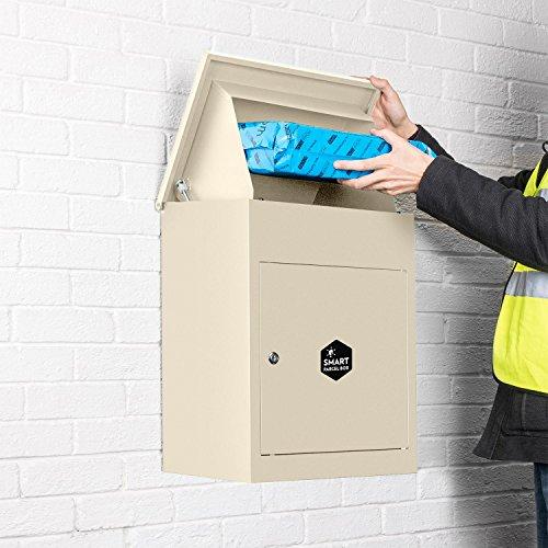 Smart Parcel Box, mittelgroßer Paketbriefkasten mit Paketfach und Briefkasten, sicherer Paketkasten für Zuhause und Unternehmen mit Rückholsperre, für alle Zusteller geeignet, 44 x 35 x 58 cm, creme