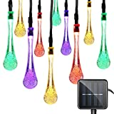 Lareinae Solar String Lights, Outdoor Waterproof Fairy Light 19.7ft 30 LED Multi Color Waterdrop Lighting for Christmas, Garden Patio Indoor Party, Bedroom, Xmas, Yard, Proch Decoration
