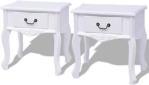 Festnight Lot de 2 Tables de Chevet Table auxiliaire en MDF de Blanc 43 x 33 x 45,5 cm