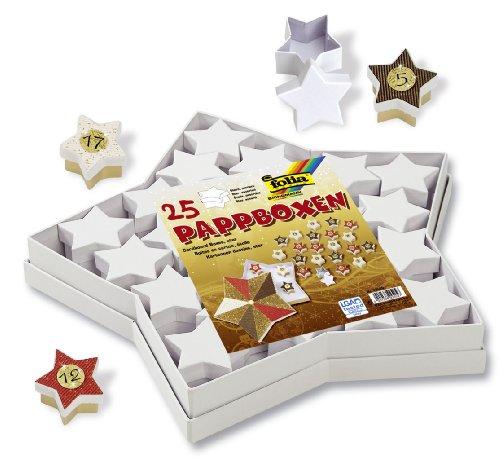 folia 32500 - Pappschachtel Set, Sterne, weiß, 25 teilig, bestehend aus 1 großem Stern und 24 kleinen - Ideal auch zur Erstellung eines Adventskalenders