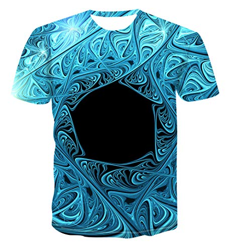 Carnaval carnaval Unisex 3D print heren T-shirt zomer casual korte mouwen Fun T-stuk ijsblauw geometrie leuke T-stukken tops