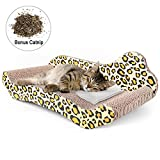 PrimePets Cat Scratcher Lounge, Corrugated Cat Scratch Cardboard Couch, Cat Scratch Bed Reversible Scratching Lounger Sofa, Kitty Scratcher Lounge (Catnip Included)