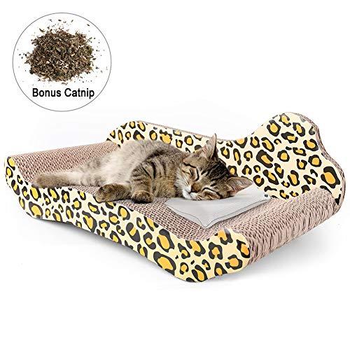 PrimePets Cat Scratcher Lounge, Corrugated Cat Scratch Cardboard Couch, Cat Scratch Bed Reversible Scratching Lounger Sofa, Kitty Scratcher Lounge (Catnip Included)