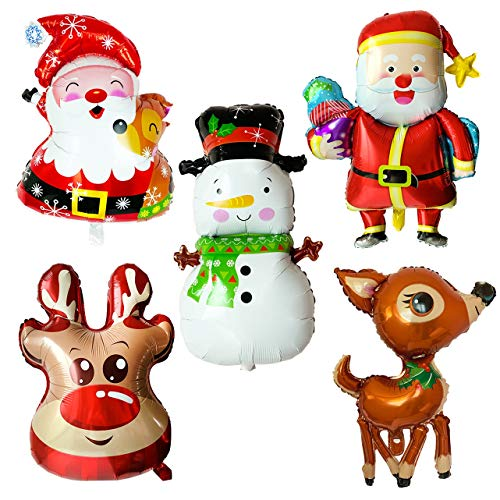 5pcs Christmas Foil Balloons Santa Reindeer Snowman Happy Holidays Giant Balloon Decoration Party Supplies