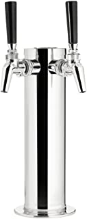 KegWorks Double Tap Draft Beer Tower- Stainless Steel- 3