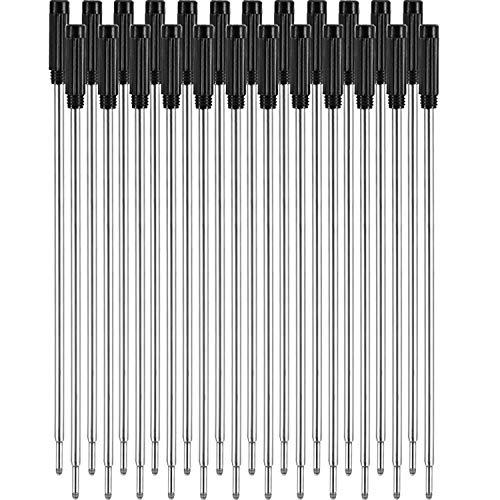 24 Pezzi Ricarica Penna a Sfera Ricariche Scrittura Liscia 4.5 Pollici (11.6 cm) e 1 mm Punta Media (Nero)