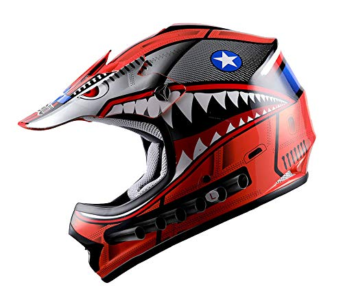WOW Youth Kids Motocross BMX MX ATV Dirt Bike Helmet Shark Red
