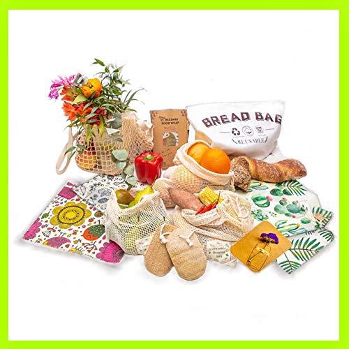 12 Pièces Combo Zéro Déchet: Cadeau Durable, Tout Essayer, Cuisine Écologique, Réutilisable: Emballages, Sacs, Éponge, etc.