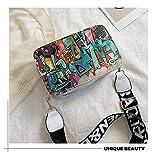 Mdsfe 2020 Nuevas Bolsas de Mujer Summer Graffiti Ladies Bolsos de diseño Mini Bolso de Cadena Mujer Bolsos de Mensajero para Mujer Clutch - Blanco