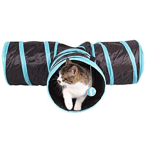 Kany - Túnel de gato, juguete plegable de 3 vías, tubo divertido para conejos, gatitos y perros, mantiene a los gatitos entretenidos haciendo ejercicio y jugando juegos por Kany