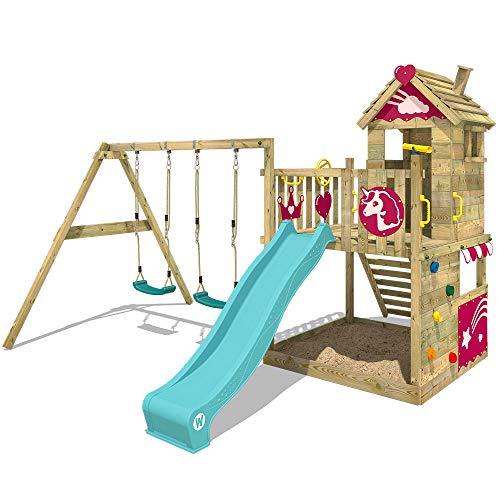 WICKEY Parque infantil de madera Smart Sparkle con columpio y tobogán turquesa, Casa de juegos de...