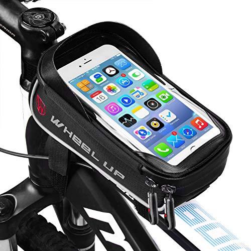 LIDIWEE Borsa Telaio Bici, Wheel Up 6 inch Porta Cellulare Bici, Borsa da Manubrio per Biciclette, Borse Biciclette Supporto Bici MTB BMX, Accessori Bici (Nero e Grigio)