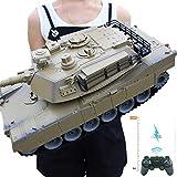 Tanque Rc Tiger Panzer Alemán de Gran Escala 1:18 Con Control Remoto de 2.4ghz, Torreta Giratoria de Luz Y Sonido LED y Acción Retroceso Cuando Inteligencia para Niños Pequeños Regalos,Desertyellow