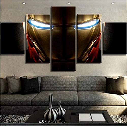 Unidades De Impresión HD 5 Piezas De Lienzo De Arte Iron Man Marvel Póster De Películas sobre Lienzo Arte De Pared para El Hogar Sin Marco Pinturas Artísticas