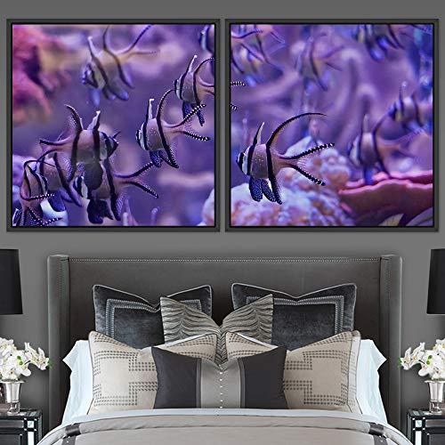 "bestdeal depot School of Fish 2 Panels Framed Canvas Wall Art Prints for Living Room,Bedroom Framed Artwork Decoration Ready to Hang - 16""x16""x2 Panels"