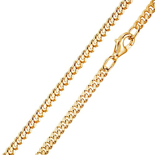 MATERIA 3mm Panzerkette Silber 925 vergoldet diamantiert Gold Halskette Herren Damen 40-80cm mit Box #K70, Länge Halskette:45 cm