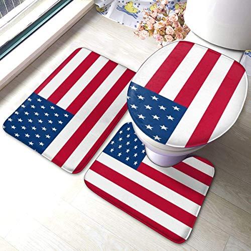 RedBeans rutschfeste Badematte, 3-teilig, Flanell, Badezimmerteppich-Set, USA-Flagge, weicher WC-Vorleger