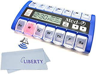 Amazin Pill Dispenser with Beeping Reminder, Flashing Guides and Liberty Cloth