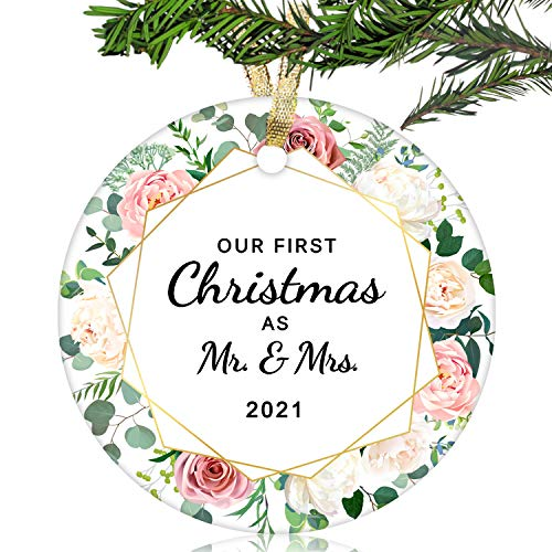NURIONSS Our First Christmas as Mr & Mrs Ornaments 2020 - Christmas Wedding Decoration Gift for Couple Married Newlyweds - 2.85' Ceramic Ornament(Mr & Mrs 18)