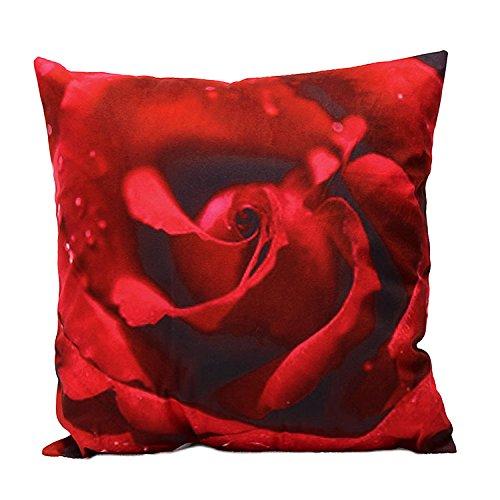 Cikuso 1 x 45 x 45 cm 3D Rosa Rossa Decorazione Cuscino Divano casa tiro Cuscino tiro casa Caso Decorazione Rosso