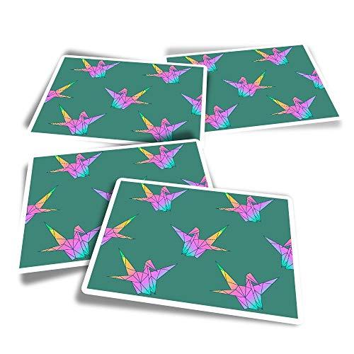 Pegatinas rectangulares de vinilo (juego de 4) – Pegatinas japonesas de cisne origami divertido para ordenadores portátiles, tabletas, equipaje, reserva de chatarra, frigoríficos #12938
