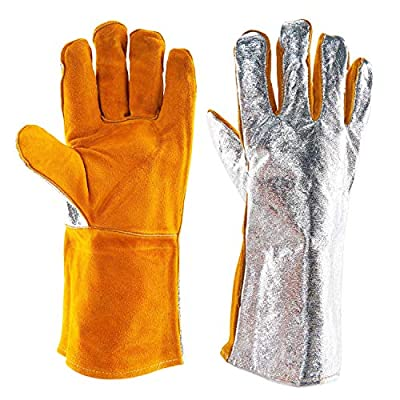 "Heat Resistant Aluminized Gloves High Temp Welding Glove Cow Leather Welder Gloves Safety Work Gloves Oven Mitt/Grill/Fireplace/Furnace/Stove/Mig/BBQ Glove Alumininzed Cow Leather Gloves ?13.78"" ?"