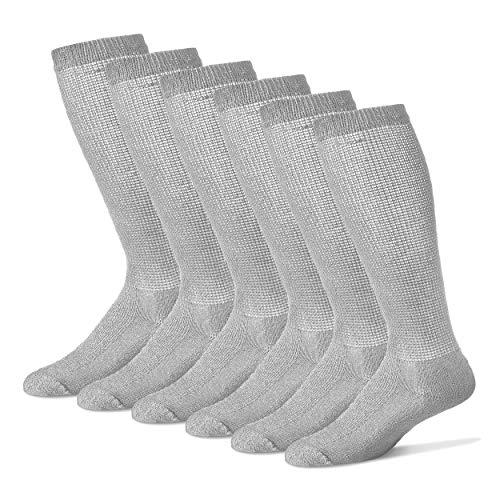 Diabetic Over The Calf Socks for Men - 12 Pack - Gray - Size 13-15