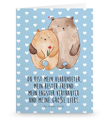 Mr. & Mrs. Panda Glückwunschkarte, Geburtstagskarte, Grußkarte Bären Liebe mit Spruch - Farbe Blau Pastell