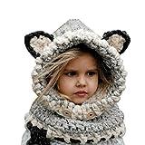 Sunroyal Cappello del Fumetto di Stile, Inverno a Maglia di Lana Berretti Fox Cappelli Neonate Scialli Cappello Autunno e Inverno Sciarpa a Maglia Protezione del Bambino con Un Cappello(Grigio)