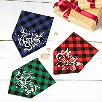 Whaline Lot de 3 bandanas de Noël pour chien - Motif écossais - Lavables - Pour fête de Noël