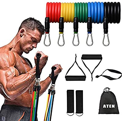 Resistance Bands Set - 5-Piece Exercise Bands Portable Home Gym Accessories-Legs Ankle Straps-Legs and Full Body Training-Carry Bag Included