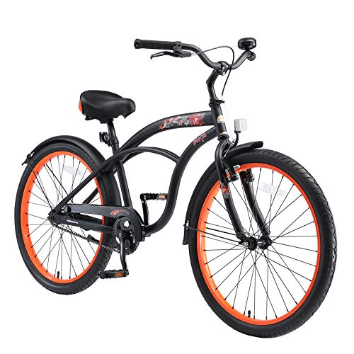 BIKESTAR Bicicleta Infantil para niños y niñas a Partir de 10 años | Bici 24 Pulgadas con Frenos | 24  Edición Cruiser Negro