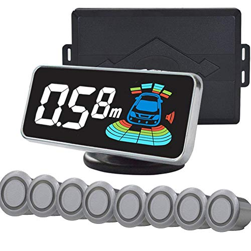 circulor Parking Sensors, Auto Rückfahrwarner Einparkhilfe, 12V DC 8 Sensoren Hinter Mit LED Farb Display Auto Parken Sensor System Radar Kit