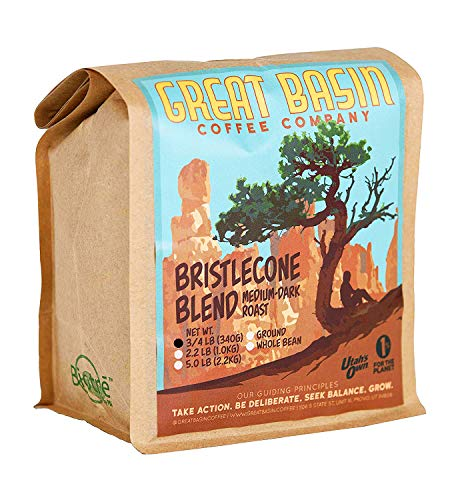 Great Basin Coffee Co. Medium Dark Roast Ground Coffee - Gourmet Small Batch Bristlecone Blend, Specialty Arabica and Robusta, Perfect for Making French Press, Cold Brew and Pour Over Coffee 3/4 lb (340 g)