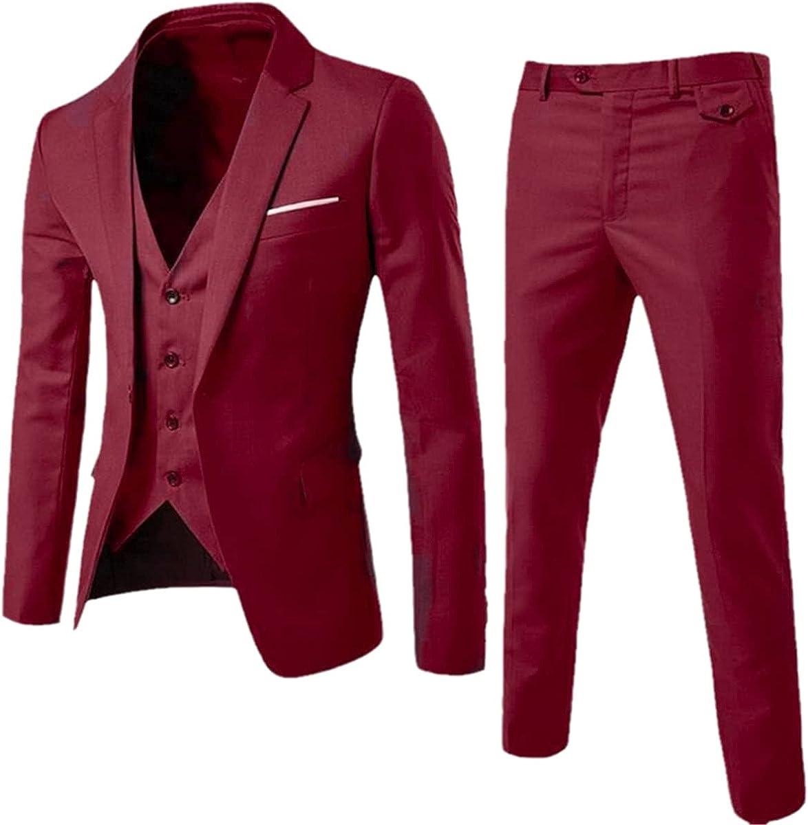 Men's Fashion Slim Suit Business Casual Wear Groomsmen Three-Piece Suit Jacket Tops Trousers Vest Set