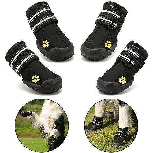 """Royalcare Hundeschuhe Pfotenschutz, wasserdicht mit Anti-rutsch Sole passend für mittlere und große Hunde, schwarz (Updated 6# (2.56\""""x2.99\""""))"""