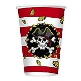 Big Party Dimav s.r.l. Paquetes, 8 Vasos (Gafas) con diseño de Piratas para cumpleaños....