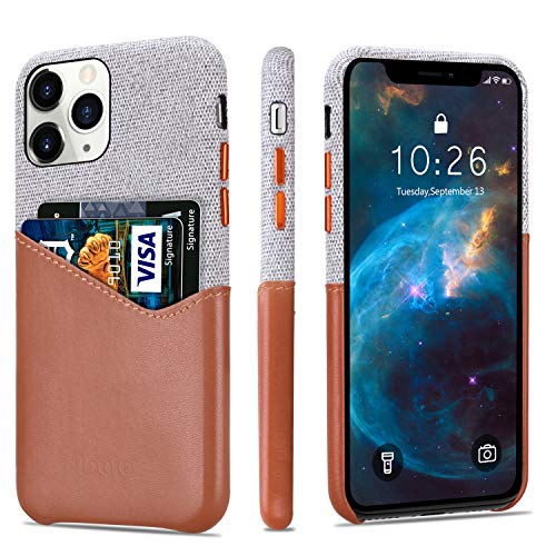 Lopie [Sea Island Cotton Series] Slim Card Case Compatible for iPhone 11 Pro 2019 (5.8'), Fabric Protection Cover with Leather Card Holder Slot Design, Light Brown