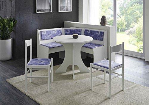 Eckbankgruppe 'Karlchen' Essgruppe 125 x 125 x 82 Rundtisch 2 Stühle modern Eckbank Küchentisch 4-teilig Landhaus Küche Polsterung blau weiß gemustert weiß