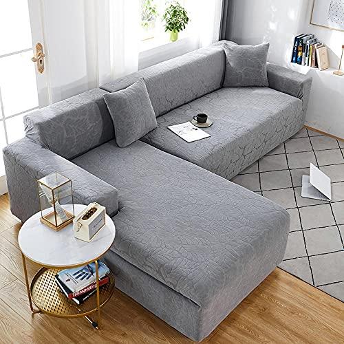 Funda Sofa 3 Plazas Elastica Hojas Artísticas Gris Claro Ajustables Elasticas Adaptables La Funda para Sofa Antideslizante Cubre Protector Sofa Gatos Arañazo Esquinero (190-230cm)