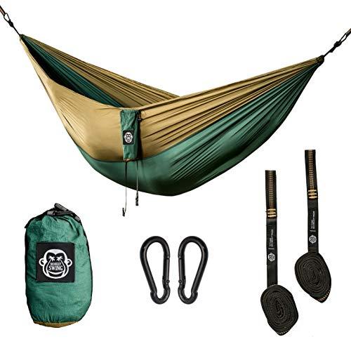 Monkey Swing Hängematte inkl. Aufhängeset I 275 x 140 cm I Outdoor, Travel, Trekking & Camping, Reise-Hängematte, Garten, Strand