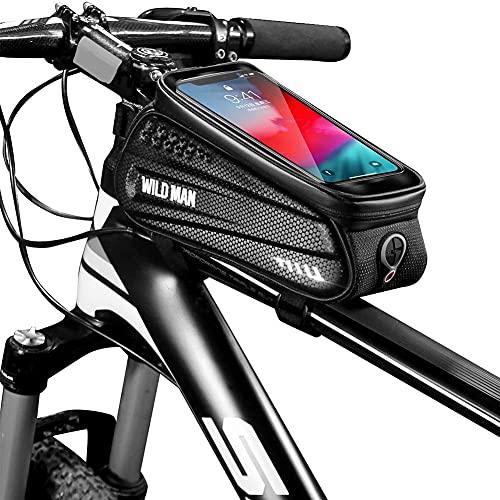JIUTAI Bolsa para bicicleta con marco frontal, impermeable, para manillar de bicicleta, con pantalla táctil para Samsung y iPhone 12/11/XS/7/8 Plus hasta 6.5 pulgadas