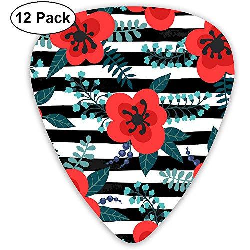 12 Pack Bloemen Patroon met Rode Bloemen Planten Takken Gitaar Picks Complete Gift Set voor Gitarist