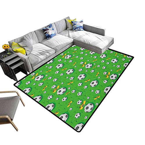 Nursery Area Rug Soccer, Soft Indoor Modern Area Rugs Professional Player Athletics Pattern Football Shoes Balls on Grass Decorative and Best Gift for Children Lime Green Yellow Black, 3 x 5 Feet