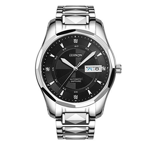 Guanqin Herren Uhr Analog Automatik mit Wolfram Stahl Armband GJ16013 Silber Schwarz