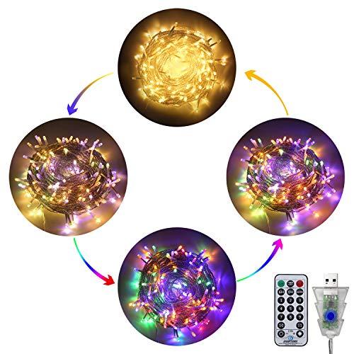 LED Lichterkette Außen, Ollny 10M 100 LED Lichterketten, Warmweiß und Bunt, Dimmbar Fairy String Lights für Innen Outdoor Weihnachten Party Garten...