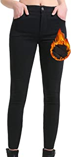 Women Skinny Pants Winter Pants Fleece Lined Zip Slim Fit...